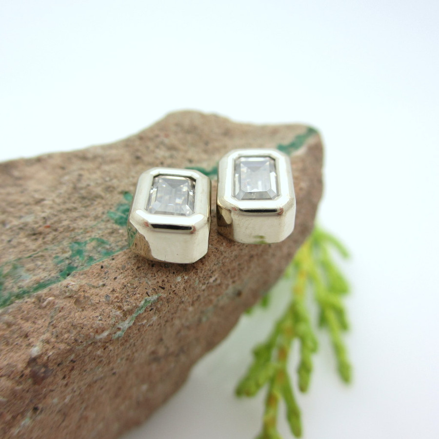 Emerald Cut Moissanite Stud Earrings