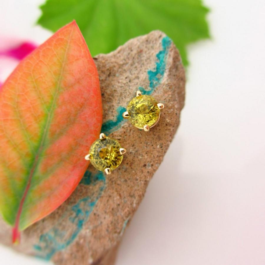 LAYAWAY For S: Mali Garnet Stud Earrings, Greenish Yellow Earrings in Yellow Gold, 5mm