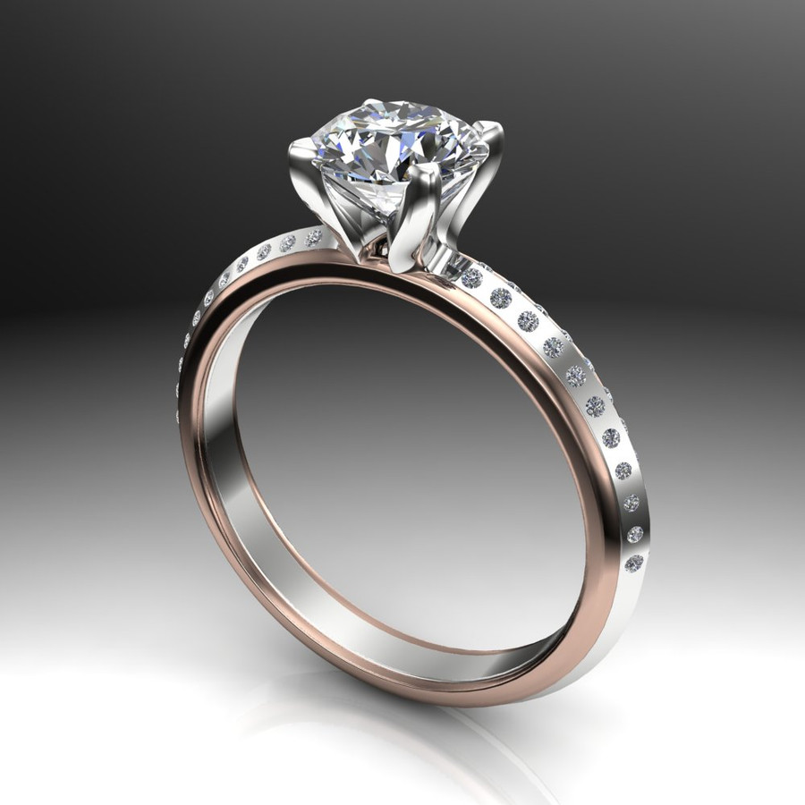 Pave Voyage 1ct Diamond Engagement Ring Triangle Band