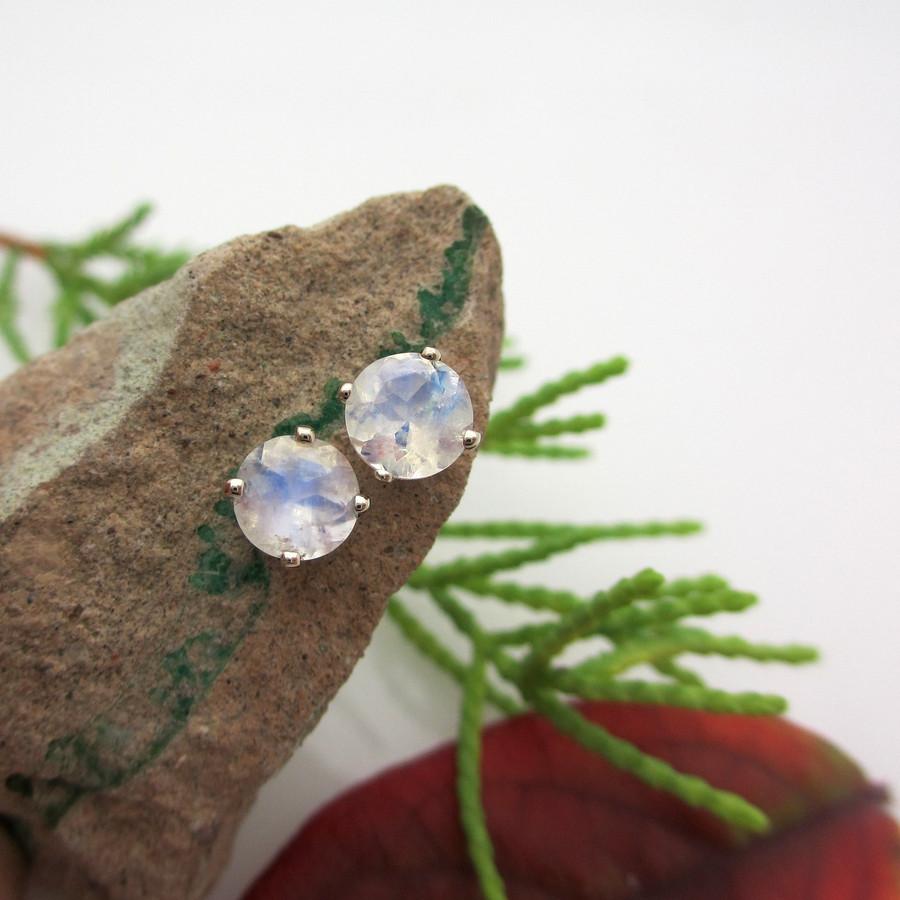 Blue Moonstone Platinum Stud Earrings