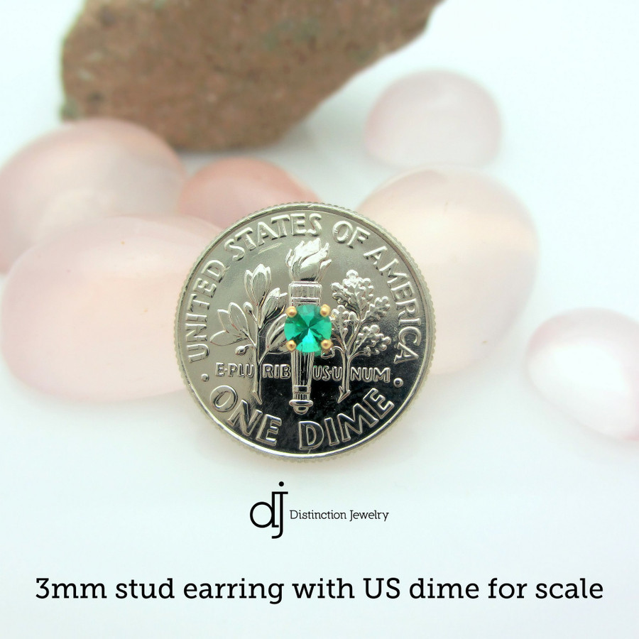 3mm  stud earring with US dime for scale