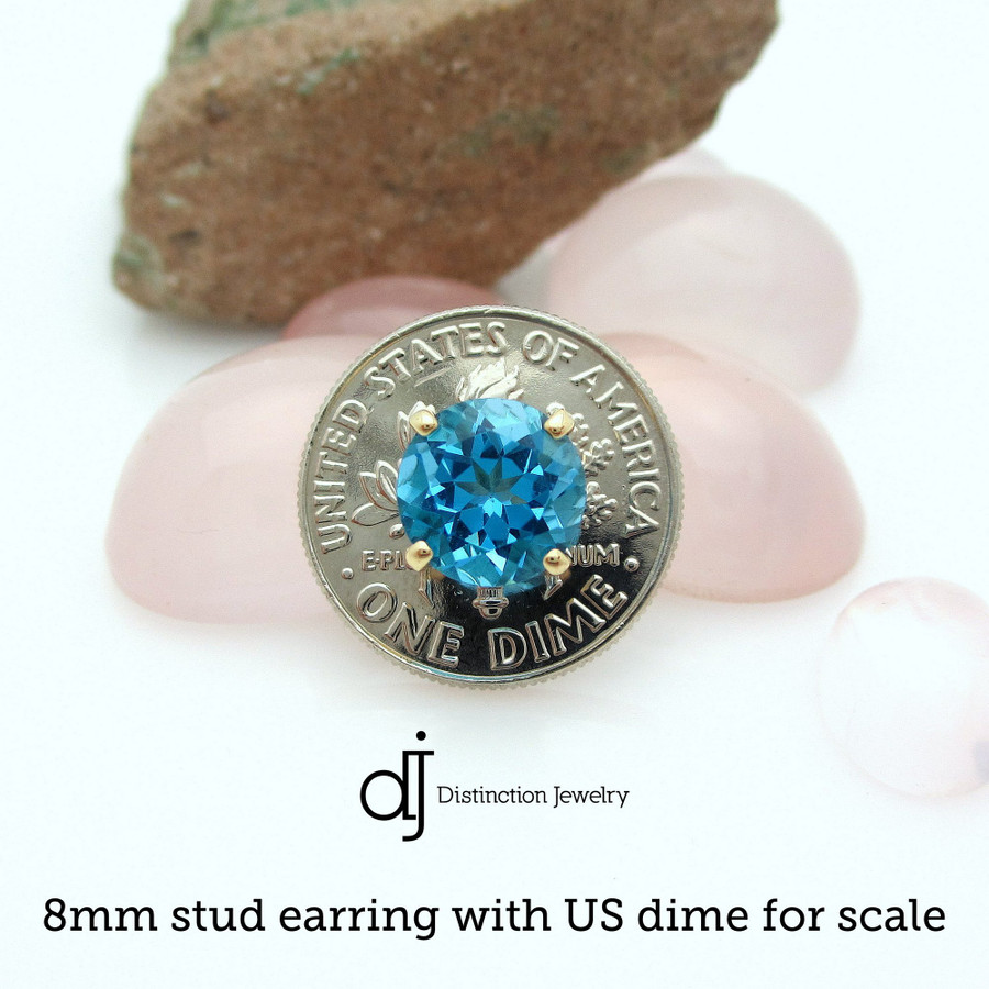 8mm stud earring with US dime for scale