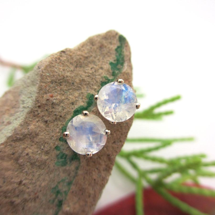14k White Gold Stud Earrings with Blue Moonstone