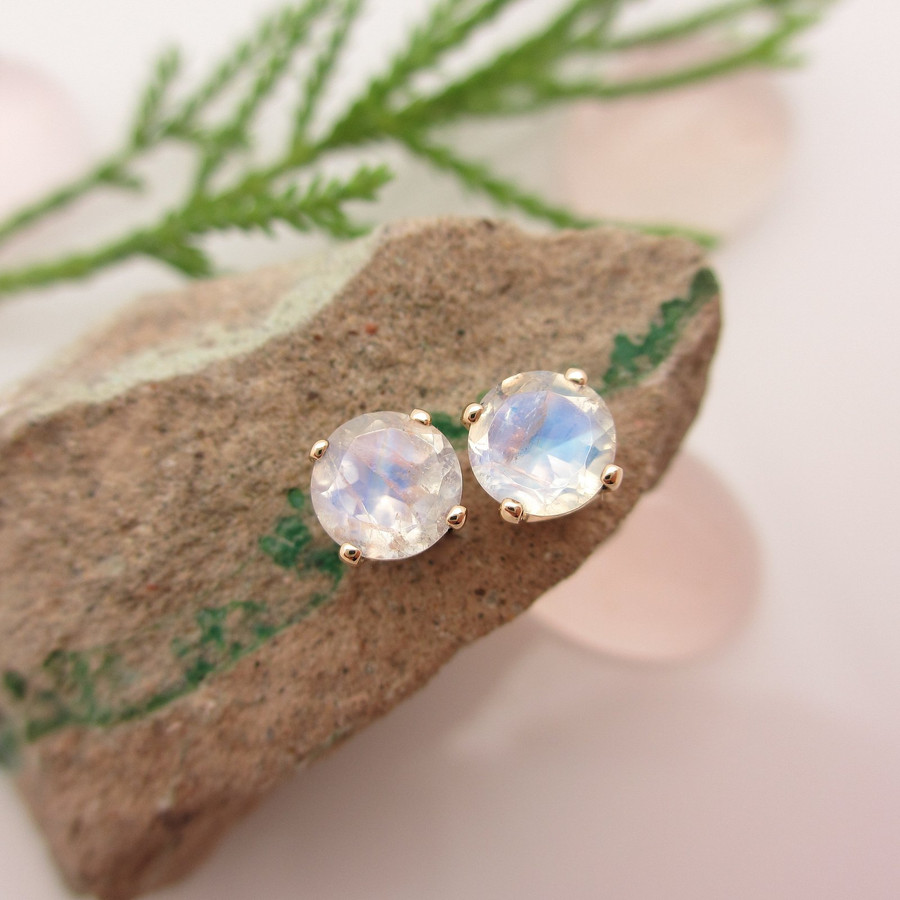 14k Yellow Gold Stud Earrings with Blue Moonstone