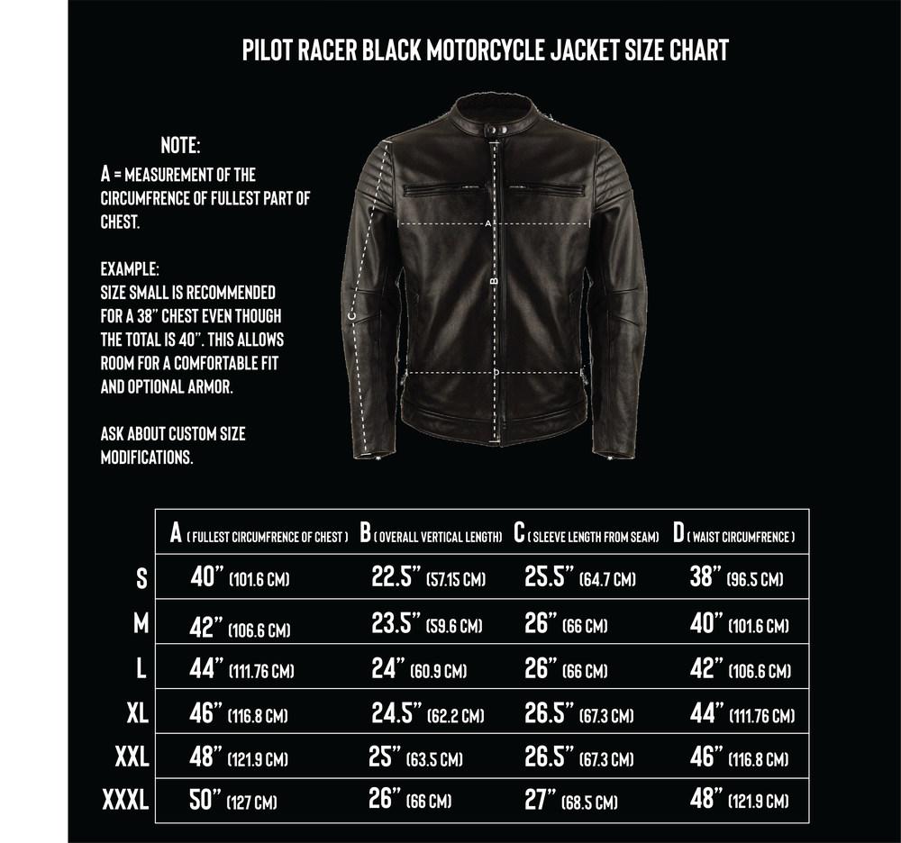 VKTRE moto Co Pilot Racer size Chart
