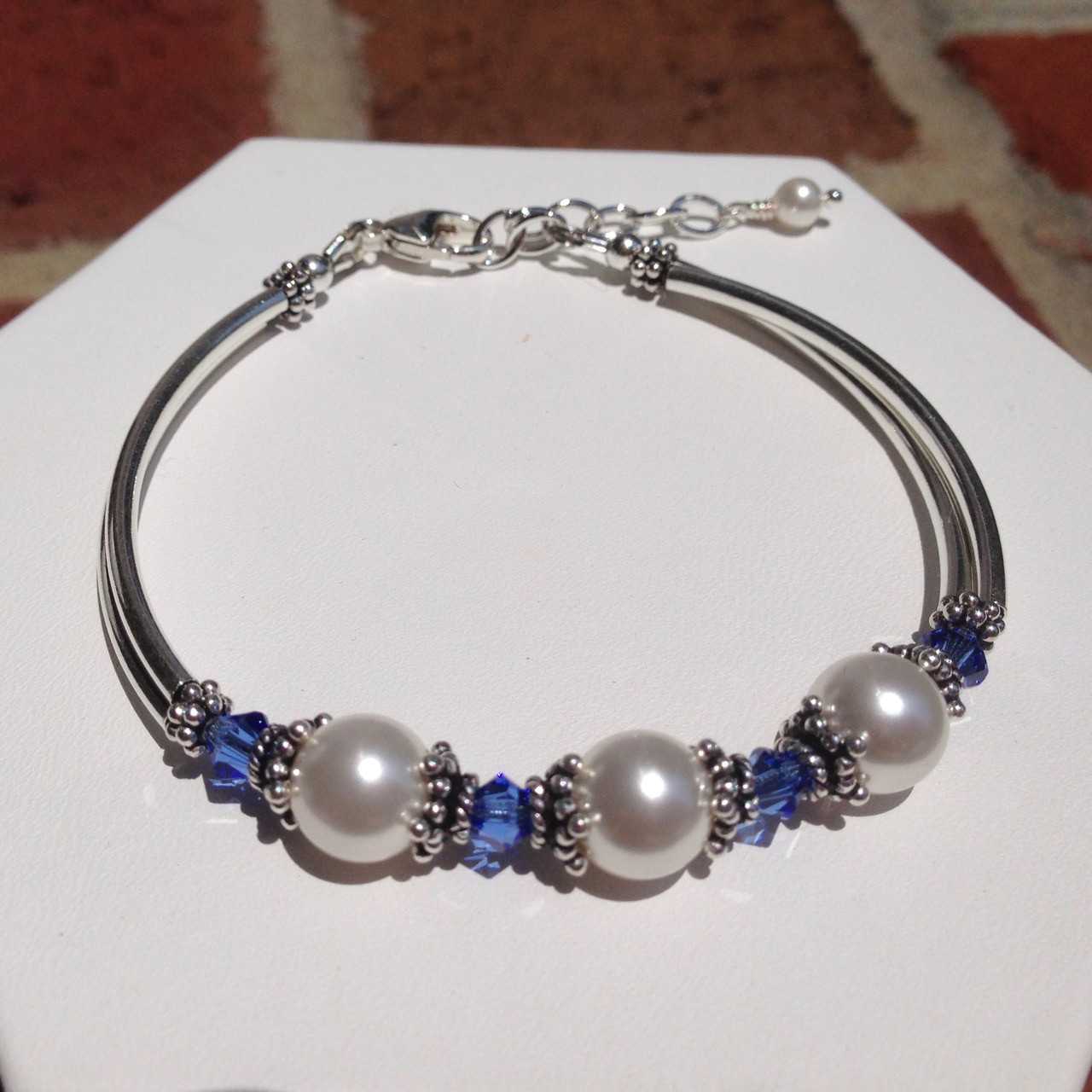 a1e848c579207 Swarovski pearl / crystal & Sterling silver tube bracelet