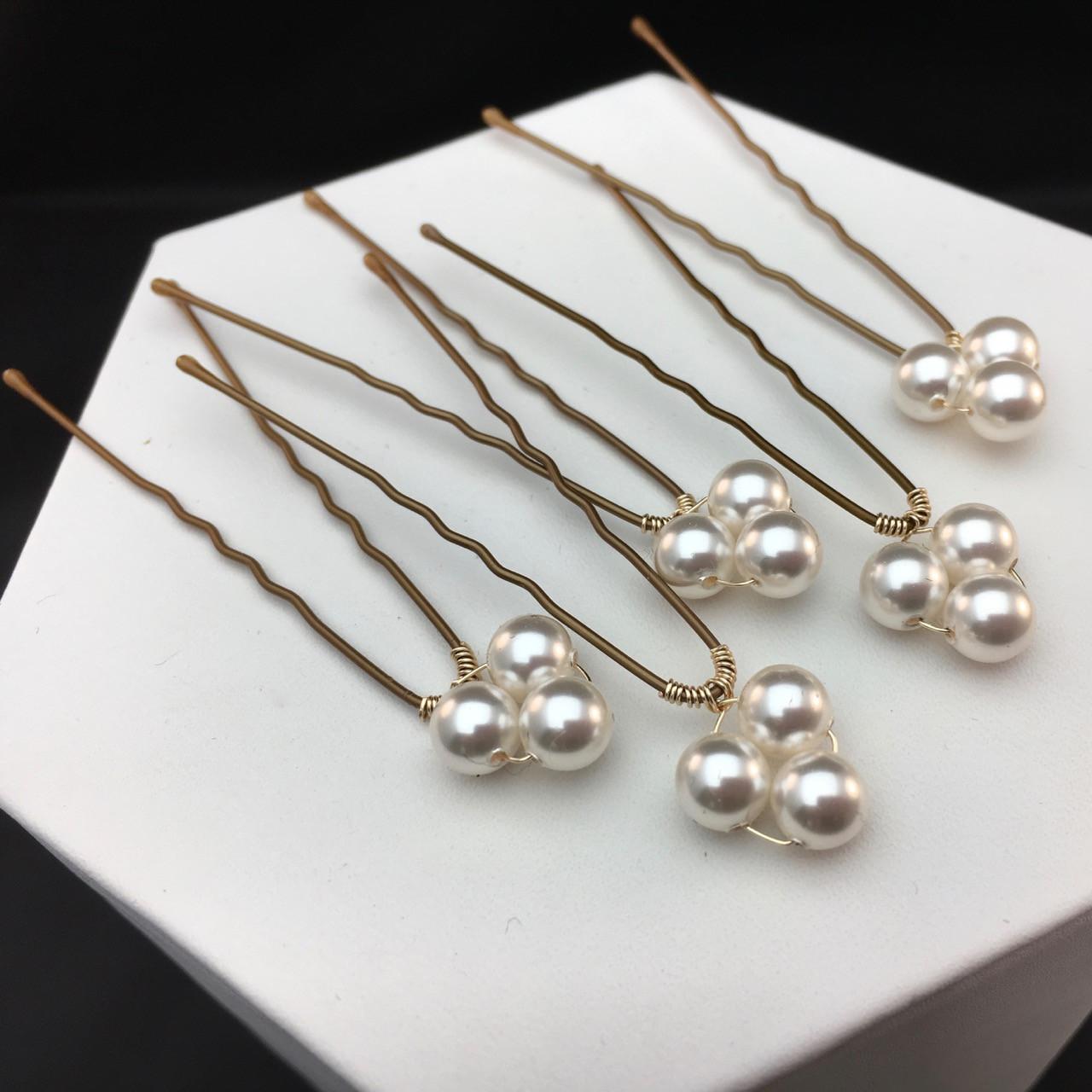 0ec7776ceecd17 6mm Swarovski pearl trio hair pins - set of 4 - SMH Jewelry