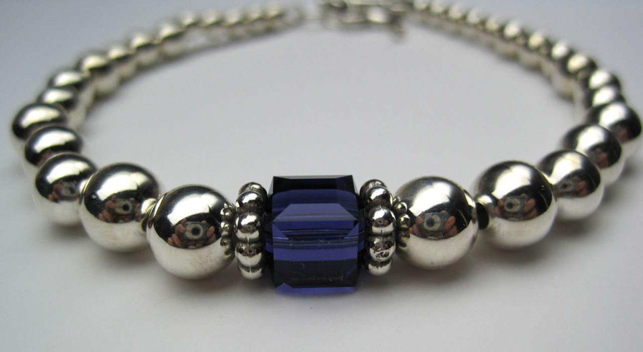 94c2db4c348a6b Sterling Rounds & Swarovski cube bracelet - SMH Jewelry