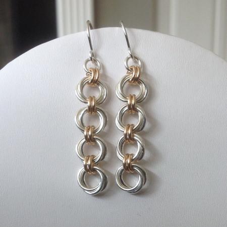 Argentium & 14KT Gold-filled Mobius Flower 4 link earrings