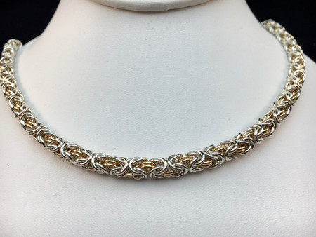 Argentium & 14KT Gold-filled Byzantine necklace - 16 gauge