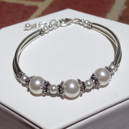 6de668462e7368 Swarovski pearl and Sterling silver tube bracelet - SMH Jewelry
