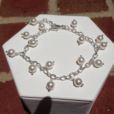 6254e9e0c9865a Dangling Swarovski pearl bracelet; Dangling Swarovski pearl bracelet ...