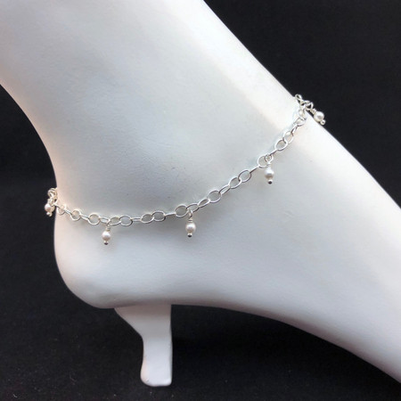Sterling silver wrapped pearl anklet