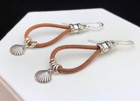 Leather and Sterling Charm Earrings