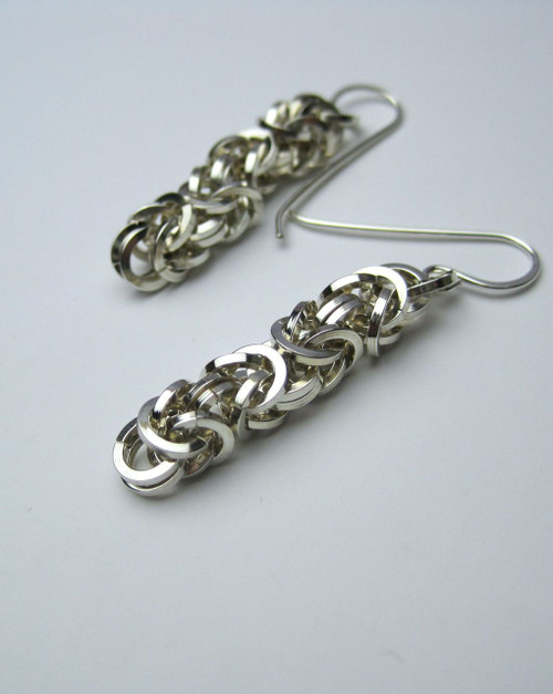 Square Argentium Byzantine earrings