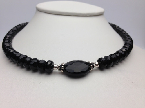 Faceted black onyx and sterling necklace