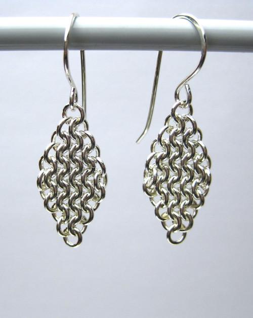 Argentium Diamond Weave earrings - 18 gauge