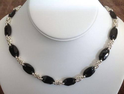 Argentium Byzantine & Swarovski owlet necklace