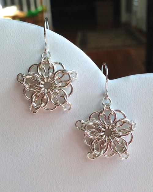 Snowflake handwoven earrings