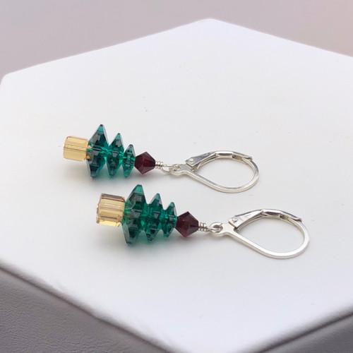 Petite Swarovski Christmas Tree Earrings