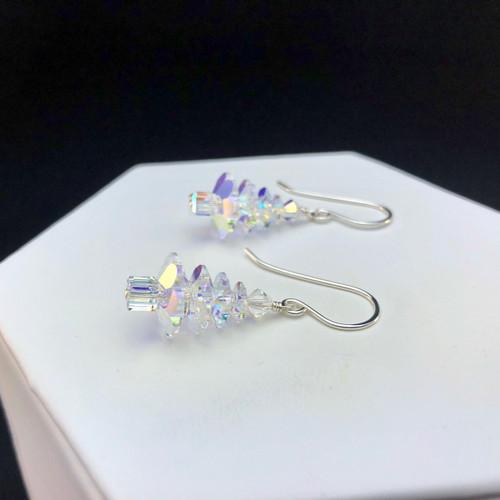 Swarovski AB Crystal large Christmas tree earrings