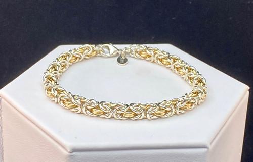 Argentium & 14KT Gold-filled Byzantine bracelet - 18 gauge