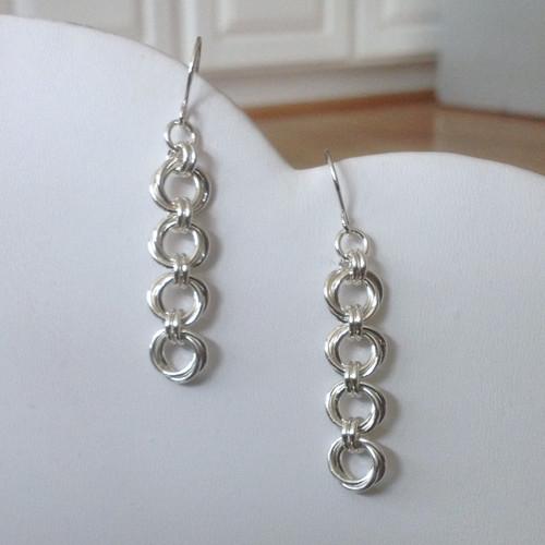 Argentium Mobius Flower 4 link earrings