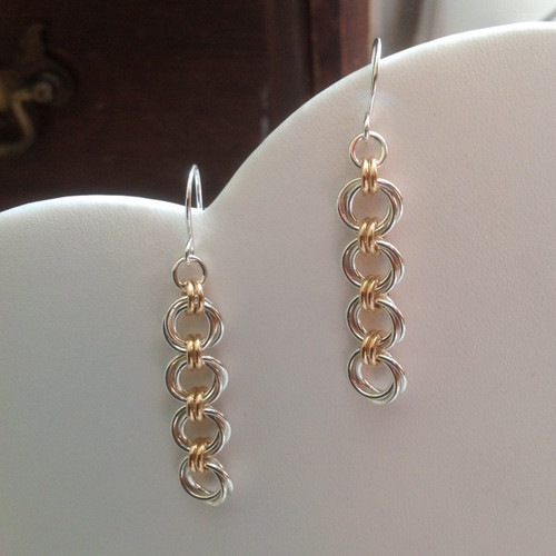 Argentium & 14KT Gold-filled Mobius Flower 4 link earrings