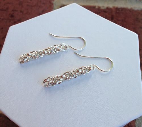 Argentium Byzantine Earrings - petite 20 gauge