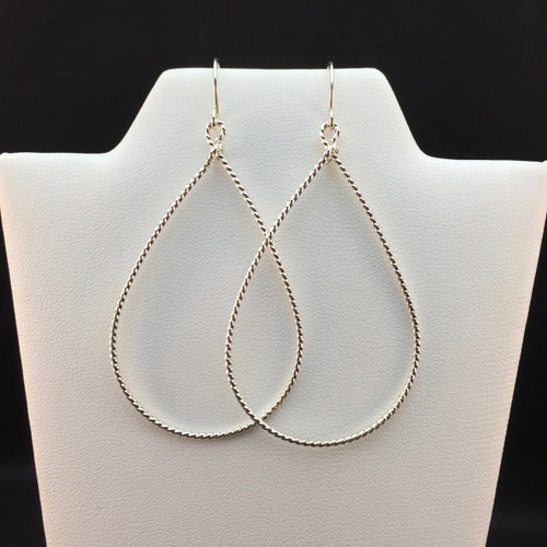Argentium twisted wire teardrops - large