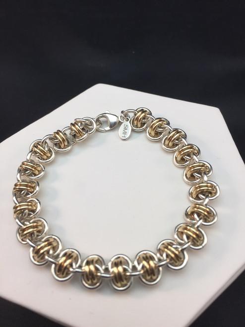 Argentium & 14KT Gold-filled Barrel bracelet - 16 gauge