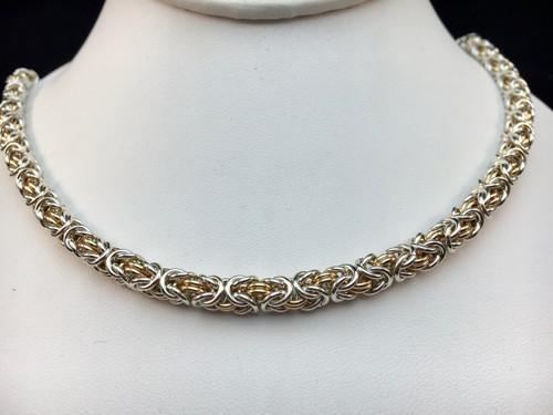 Argentium & 14KT Gold-filled Byzantine necklace - 16 gauge