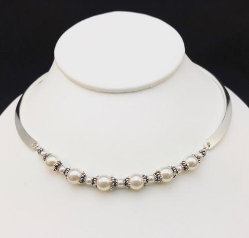 Swarovski pearl and Sterling silver neck-ring
