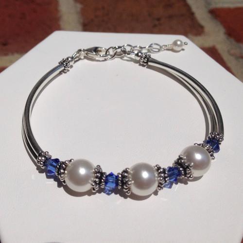 Swarovski pearl / crystal & Sterling silver tube bracelet