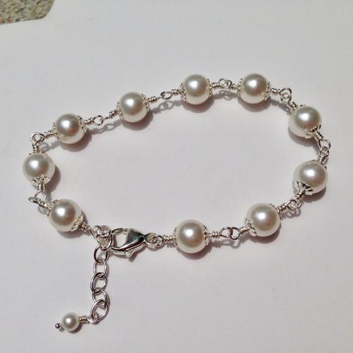 Argentium wire wrapped Swarovski pearl bracelet