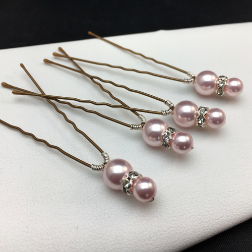 Swarovski pearl & rondelle hair pins - set of 4