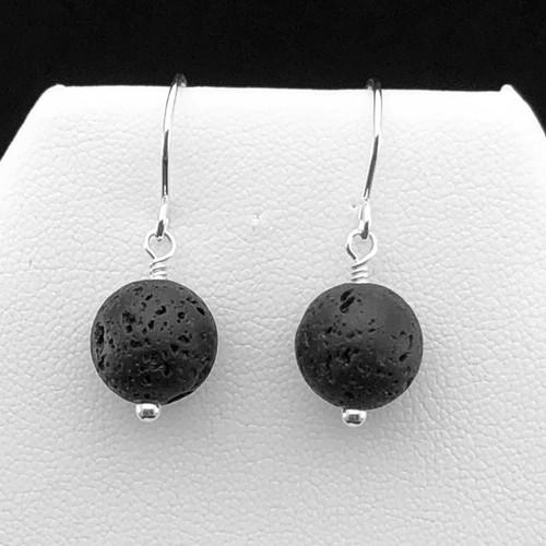 10mm Black Lava Stone earrings