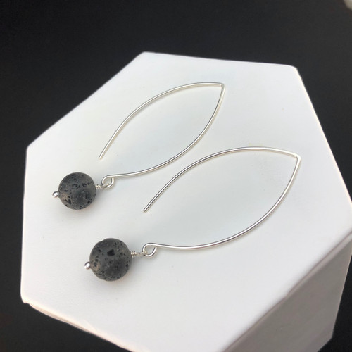 10mm Black Lava Stone earrings with marquis earwires