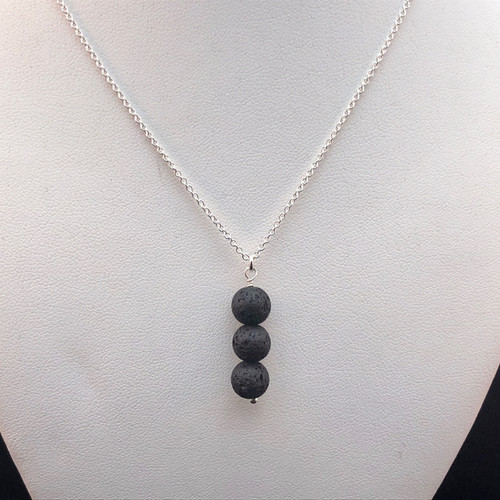 Triple 8mm Black Lava Stone necklace