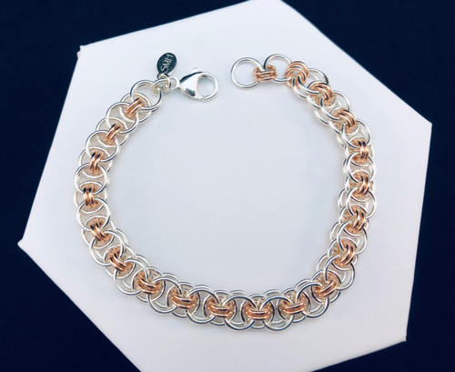 Argentium and Rose Gold-filled Helm bracelet