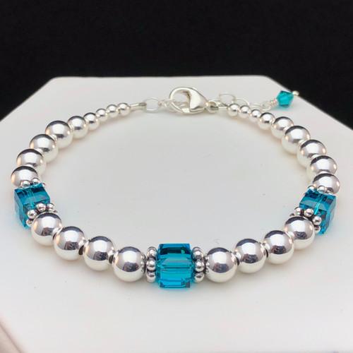 Teal / Blue Zircon Awareness bracelet