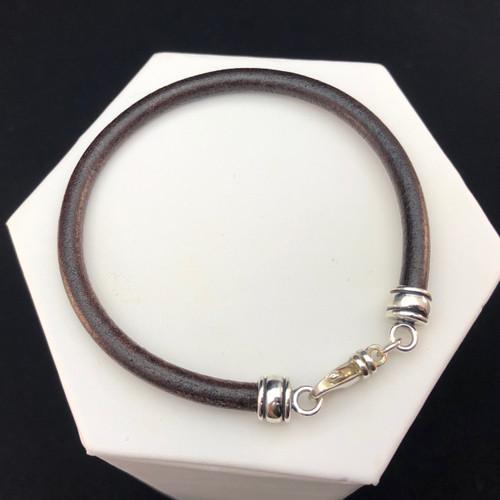 Distressed dark brown European leather bracelet