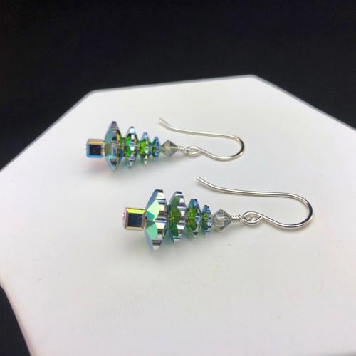 Swarovski Vitrail large Christmas tree earrings