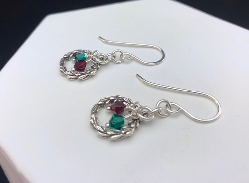 Sterling silver small Christmas Wreath earrings