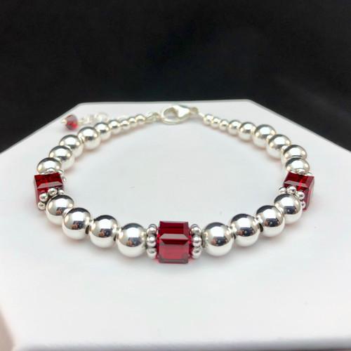 Swarovski crystal and sterling silver beaded bracelet