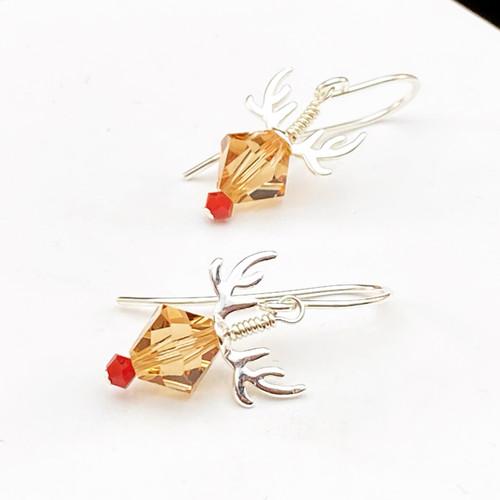 Swarovski Reindeer earrings with Sterling antlers