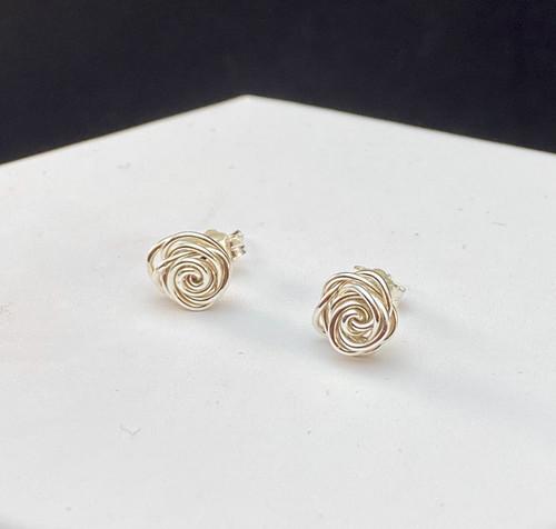 Argentium Sterling Rosebud Wire Earrings