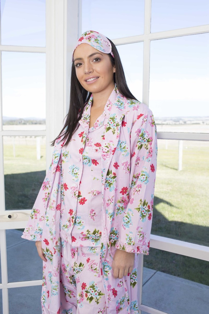 Ariana Pink Floral Robes Thelinencottonco