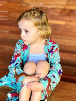 Bird print aqua kids/child 100% cotton kimono with 2 pockets and belt with hoops in 2,4,6, 8 sizes
