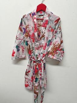 Bird Print White Girl Kimono